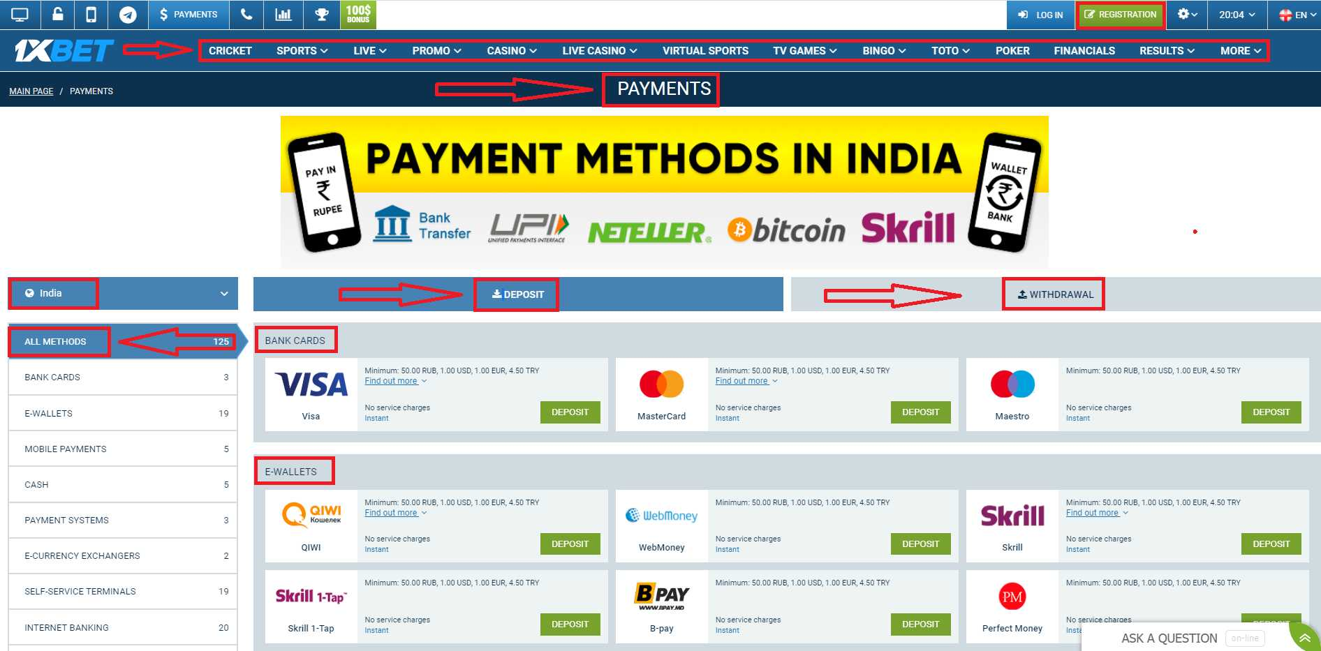 Deposit and Withdrawal Options of 1xBet India
